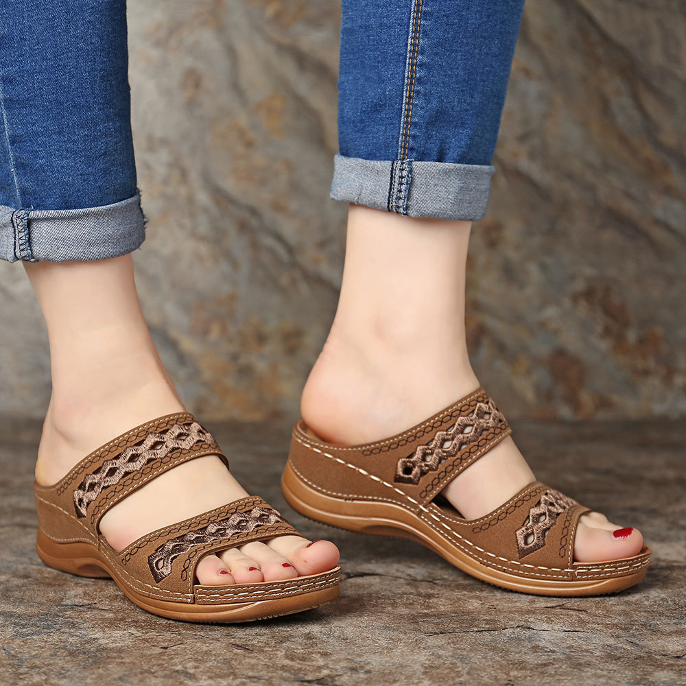 Wedges Women Lace Muffin Sandals Summer Gladiator Wedges Shoes Peep Toe Casual Waterproof Platform Shoes