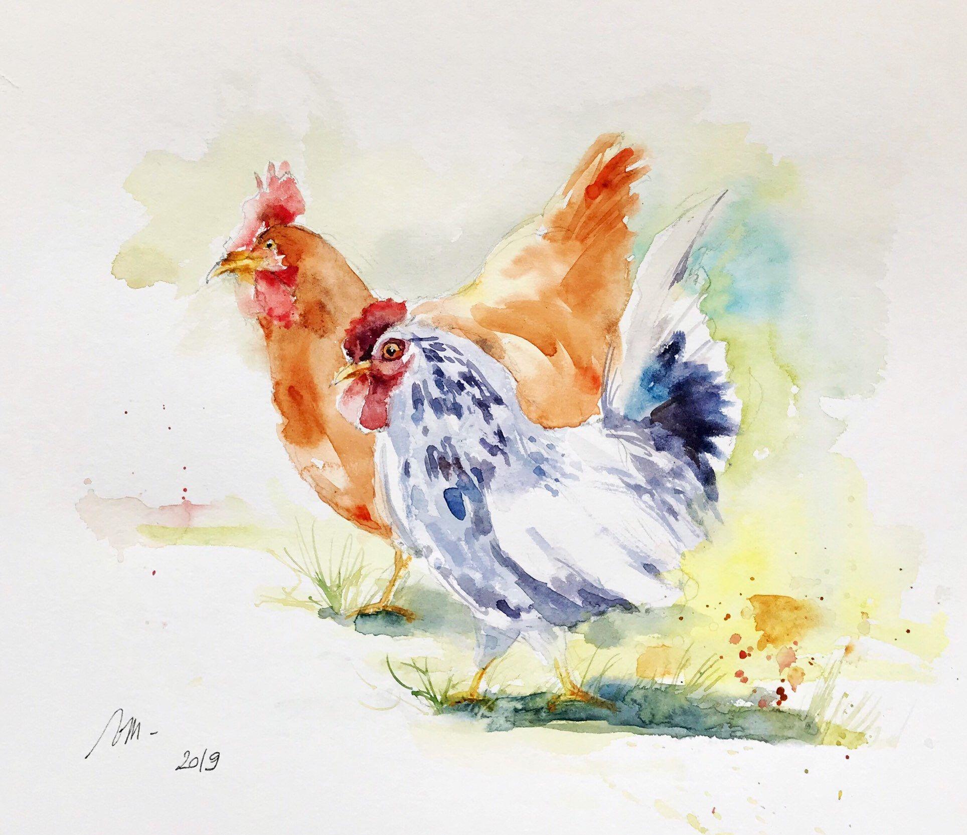 Aquarelle Peinture Originale Deux Volailles Animaux Oiseaux