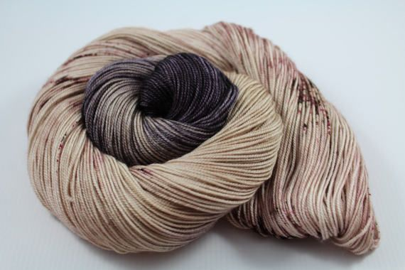 Cafe Creme - 100g 437yd 3ply  Sw Merino/Cashmere/Silk MCS Fingering Sock Weight Yarn - Coffee Colors - Tan, Espresso, speckled, cream