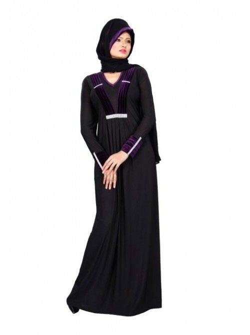 Black Lycra Velvet Pleat and Diamond Lace Style Burkha - Burqas ...