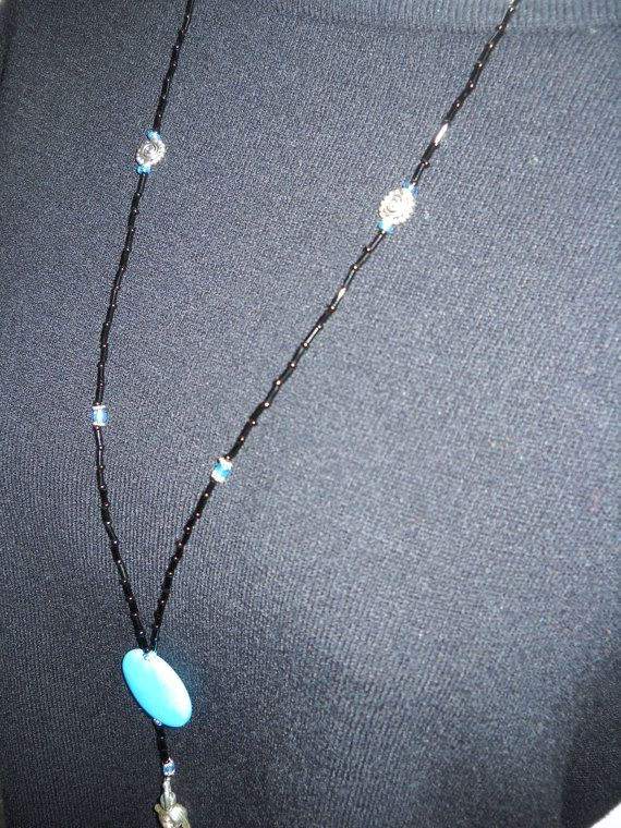 Beaded Lanyard Black & Turquoise with silver tone by liverbitz, $15.00