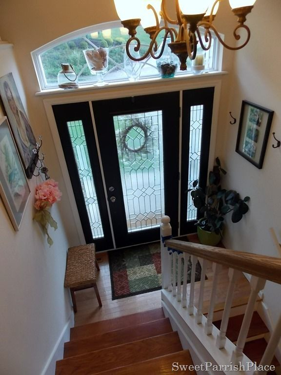 Front Door Painted Black On The Interior Side With Sidelights And White Trim Could Paint Outside Do Inside A Graphite Dark Gray