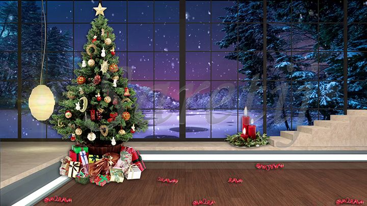 100hd Christmas Tv Virtual Studio Green Screen Background Xmas Tree Gifts Snowfall Green Screen Backgrounds Virtual Studio Studio Green