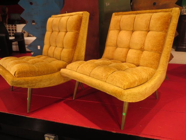 Fabulous Pair Vintage 1970 S Chairs In Original Gold