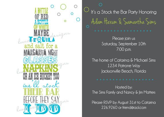 the invitation for the stock the bar party.she just changed the, Party invitations