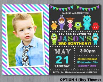 Monster Inc Invitation Monster Inc Birthday Invitation