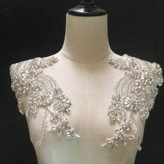 Rhinestone bead applique, crystal applique, crystal bodice patch, heavy bead handmade rhinestone applique for bridal sash, bridal headpiece #dollunderware