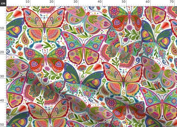 Photo of Butterfly Tattoo Fabric – The Girl With The Butterfly Tattoos By Groovity – Folk Art Pink Blue Cotton Fabric By The Metre by Spoonflower