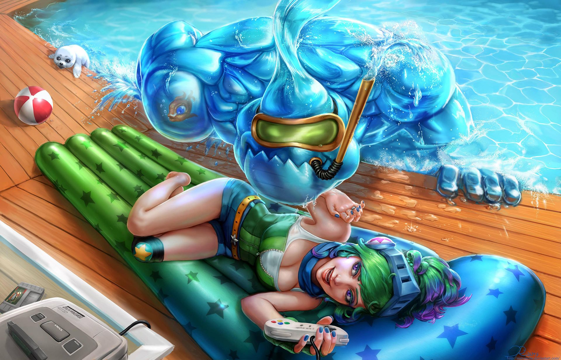 Download Wallpaper Fanart Arcade Riven And Zac Pool Party By