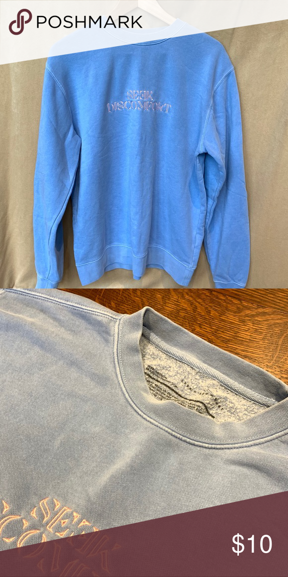 Blue Seek Discomfort Crewneck Sweatshirt Sweatshirts Light Blue Sweatshirt Crew Neck Sweatshirt