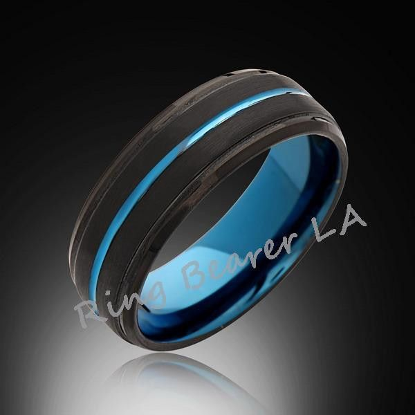 Blue Tungsten Ring Brushed Black Engagement Band 8mm Mens