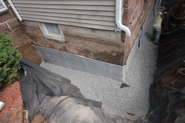 Paraseal Membrane Applied To Foundation Wall Waterproofing Basement Basement Flooring Waterproof Basement Waterproofing Diy