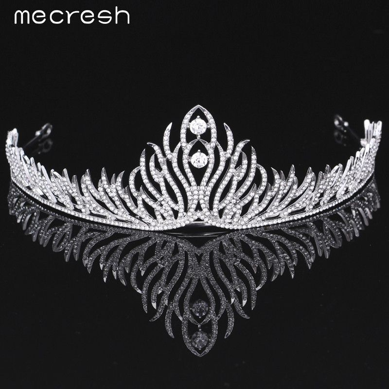 Mecresh Elegant Crystal Bride Tiaras Crowns Silver Plated Wedding Accessories