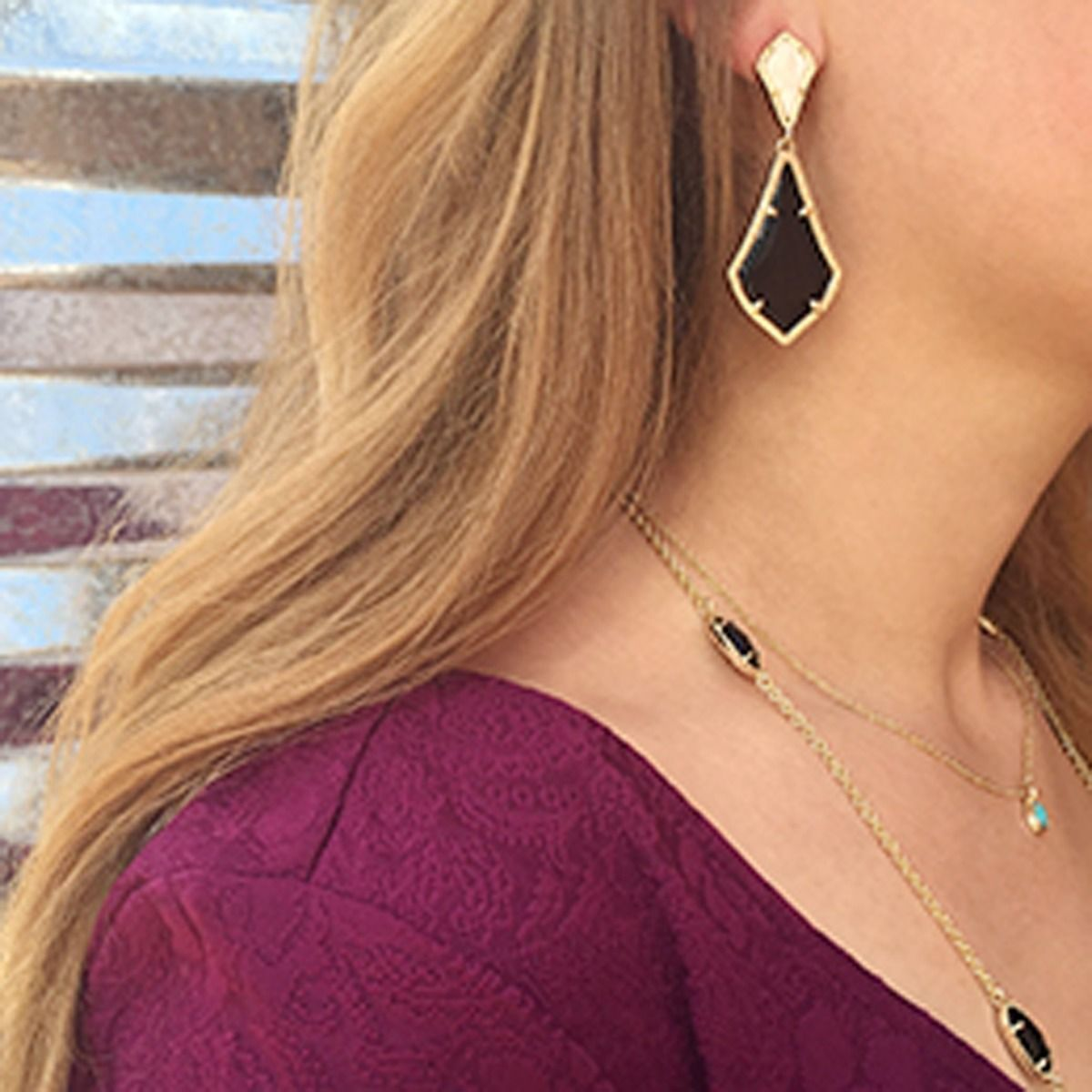 5913e50570b23 Kendra Scott Alexa Dangle Earrings Magenta Pink Magnesite Gold ...