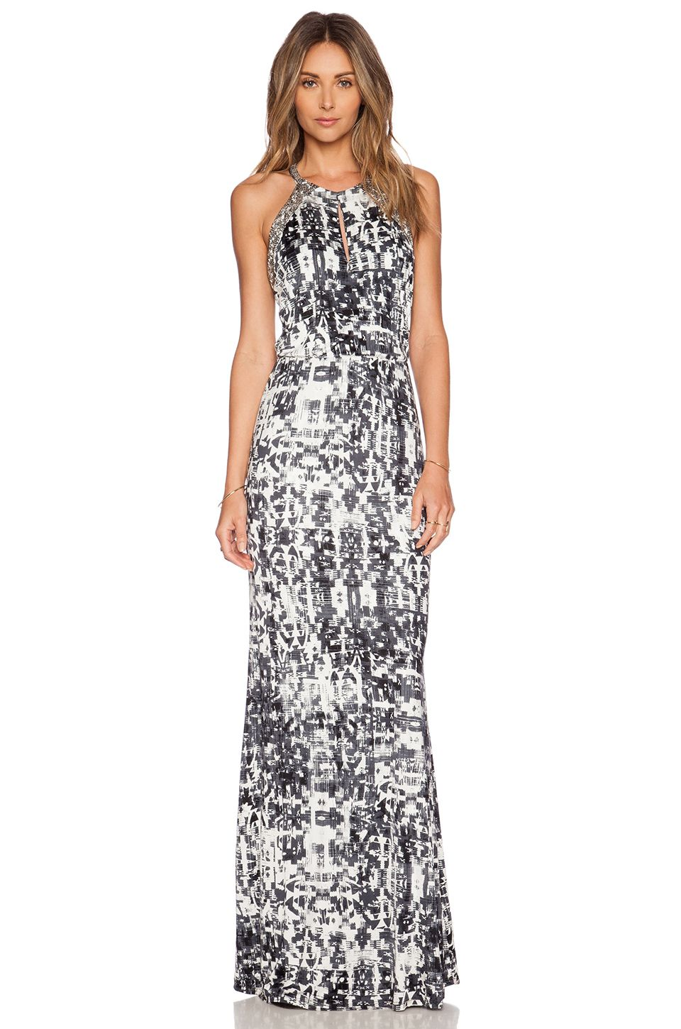Parker lita embellished maxi dress in gazette black u white