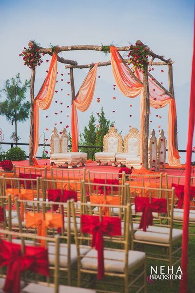 A Colorful Raw Mandap Decoration Using Minimal Amounts Of Flowers