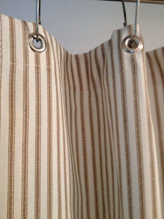 Ticking Stripe Shower Curtain Black, Brown, Grey, Navy Blue, Red ...