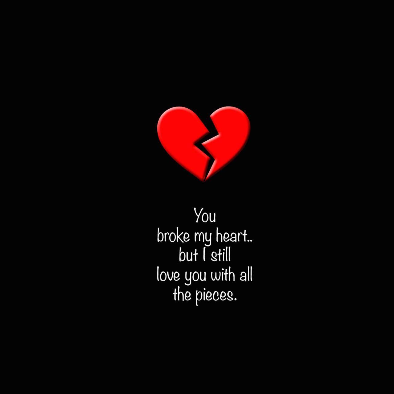 Wallpaper Love Broken Heart Black Background