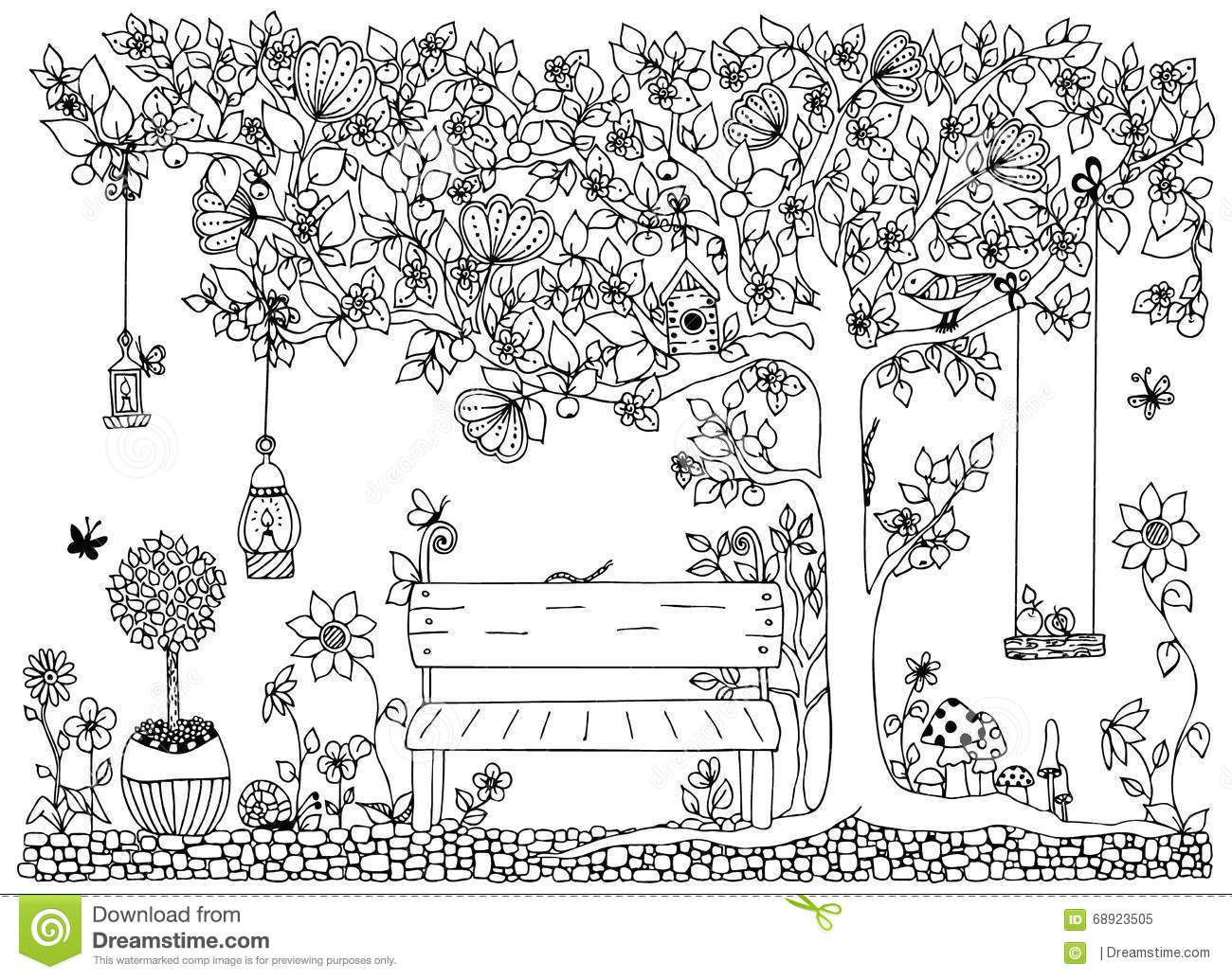 Vector Illustration Zentangle Park Garden Spring Bench A Tree With Apples