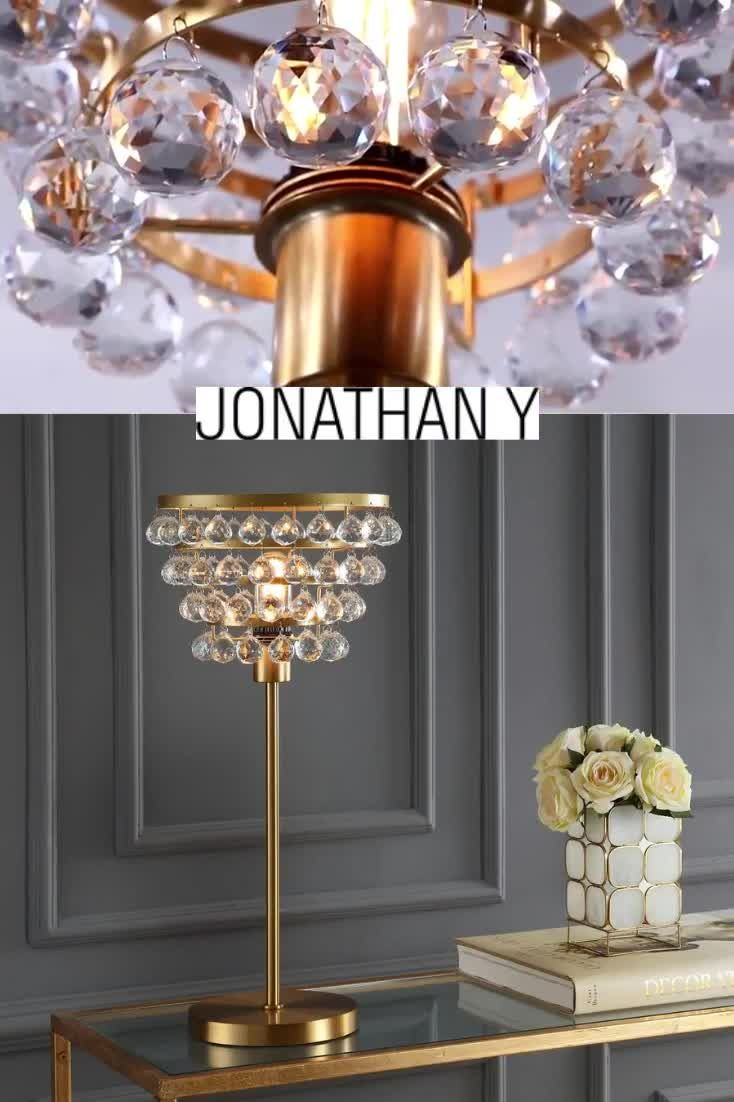 Industrial glamour defines this tiered crystal chandelier lamp. #JonathanY #HomeDecor #Lamps #DesignerLamps #ModernLighting #TableLamp #BedroomLighting #LampInspiration