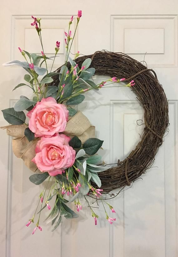 Photo of Items similar to Pink Hydrangea and Rose Wreath, Spring Front Door Wreath, Summer Wreath, Pink Hydrangea Wreath, Pink Rose Wreath, Shabby Chic Wreath on Etsy