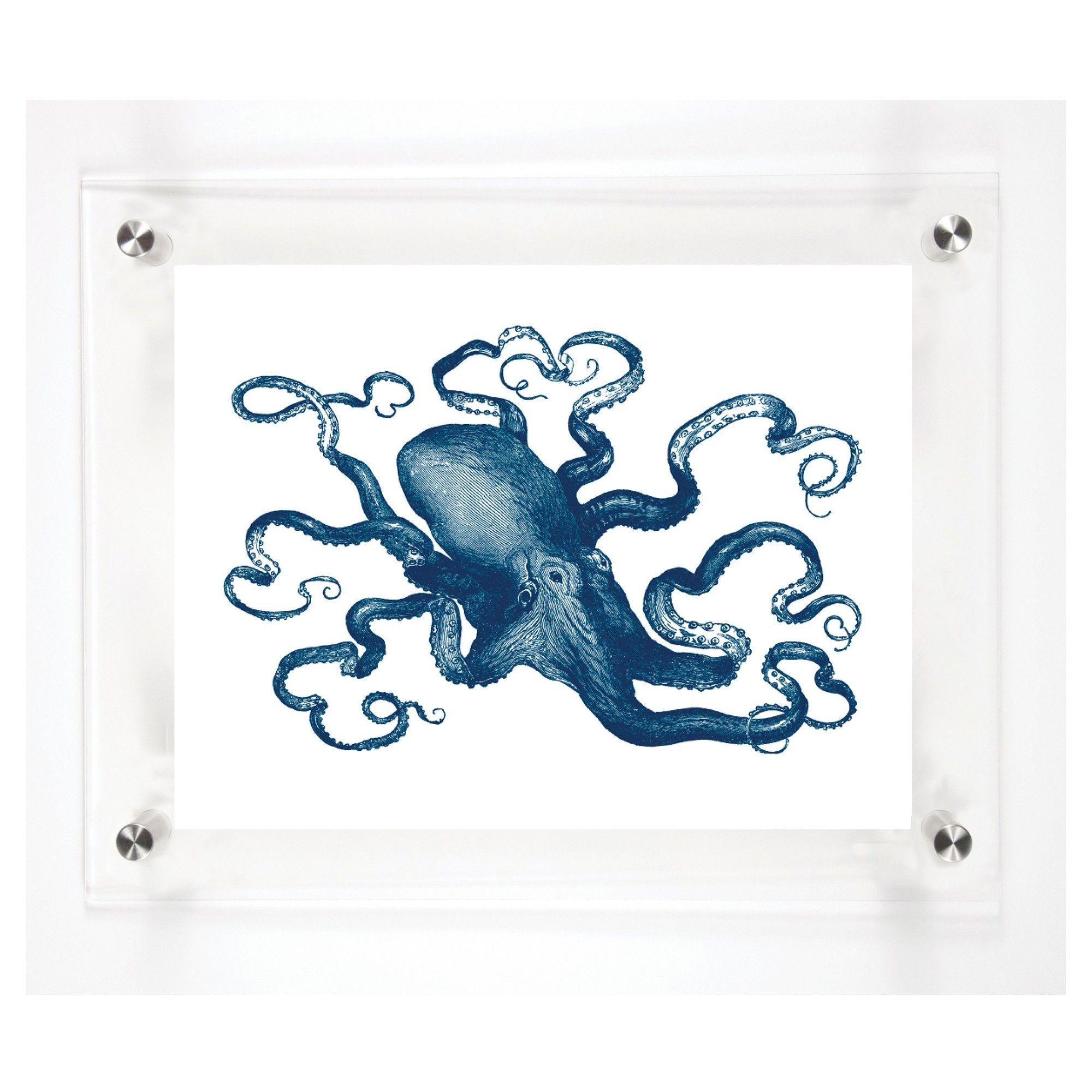 Mitchell black octopus decorative framed wall canvas midnight