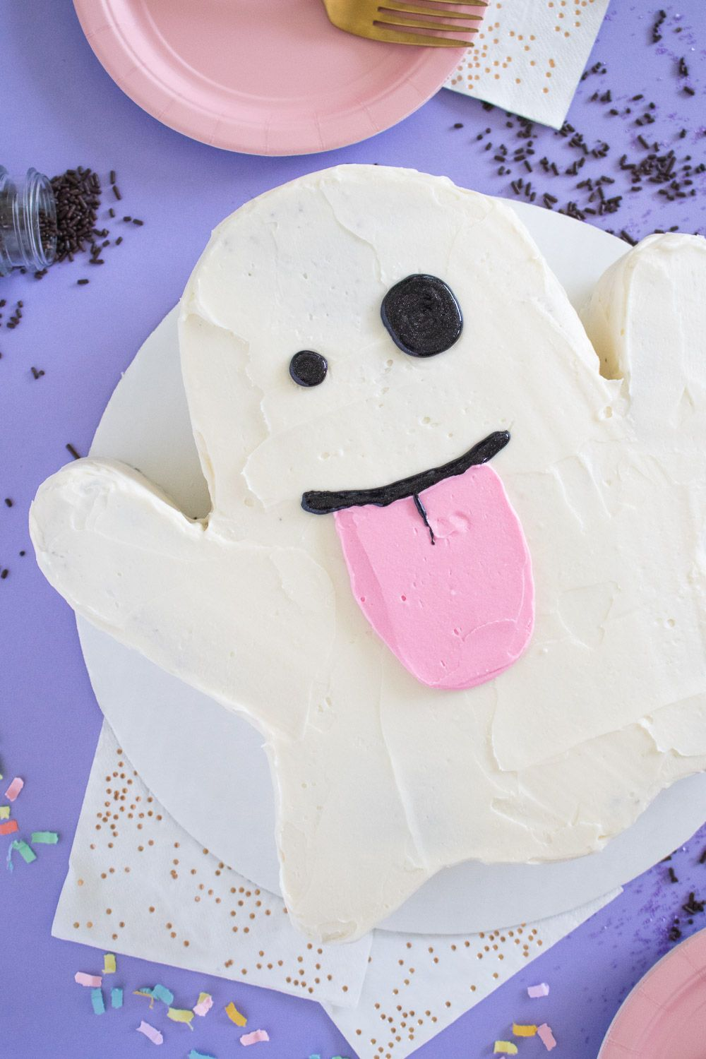 Chocolate Emoji Ghost Cake With Halloween Candy Recipe With