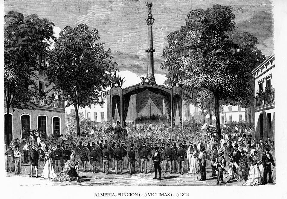 Almería Homenajea A Los Mártires De La Libertad Expedición De Los Coloraos En El Grabado Fechado En 1873 El Monumento E Almería Fotos Antiguas Monumento