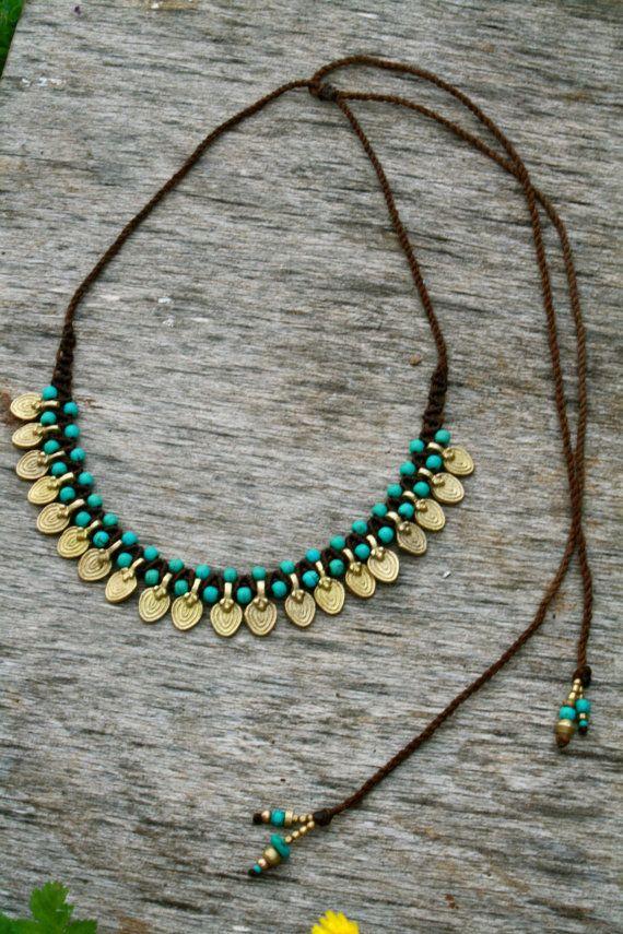 f6891d564a20 turquesa y oro tribal gota forma declaración por yasminsjewelry