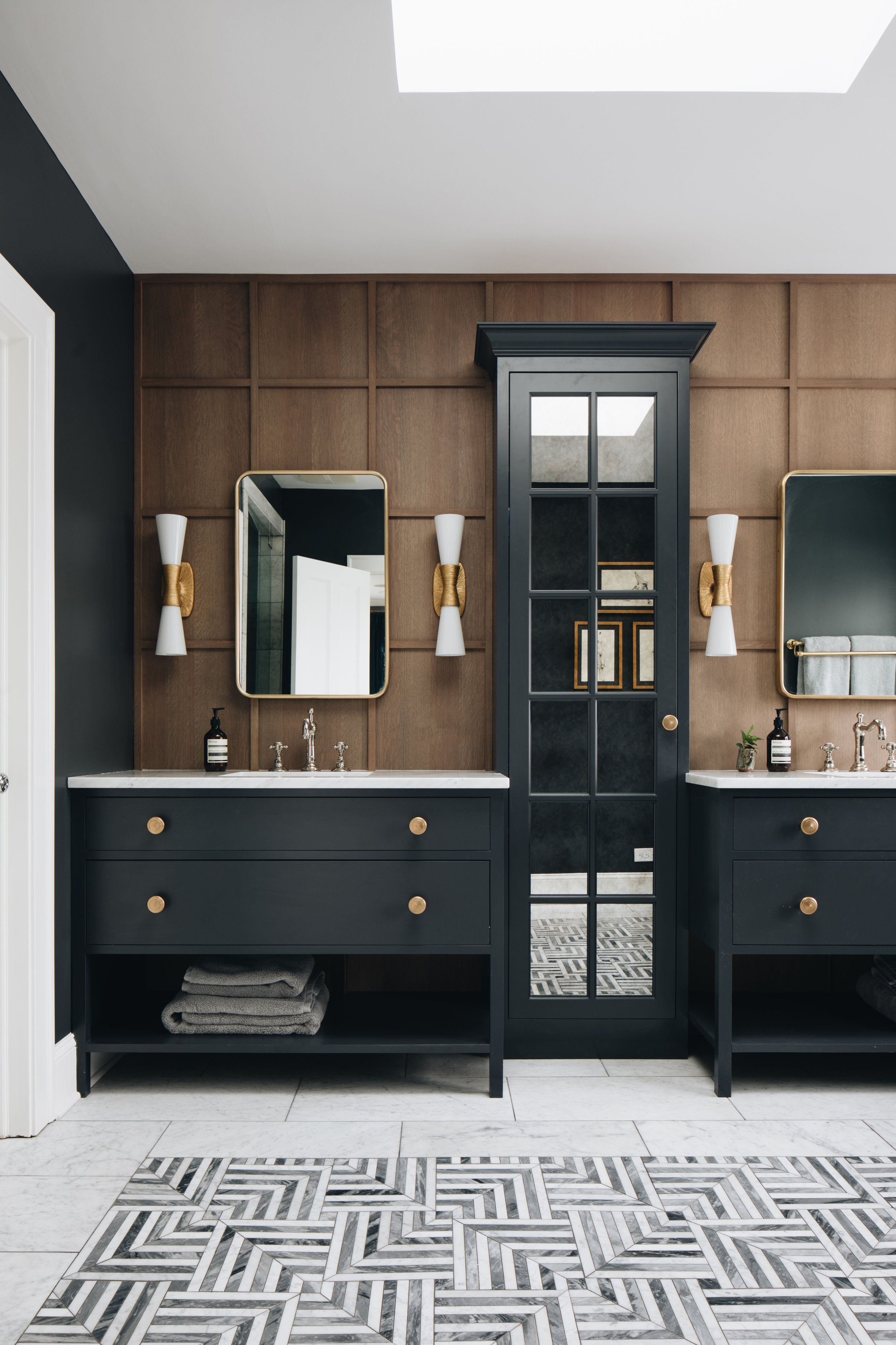 Modern Black And Wood Bathroom With Wood Stained Wainscoting Jean Stoffer Design Wood Bathroom Bathroom Interior Design Bathroom Design