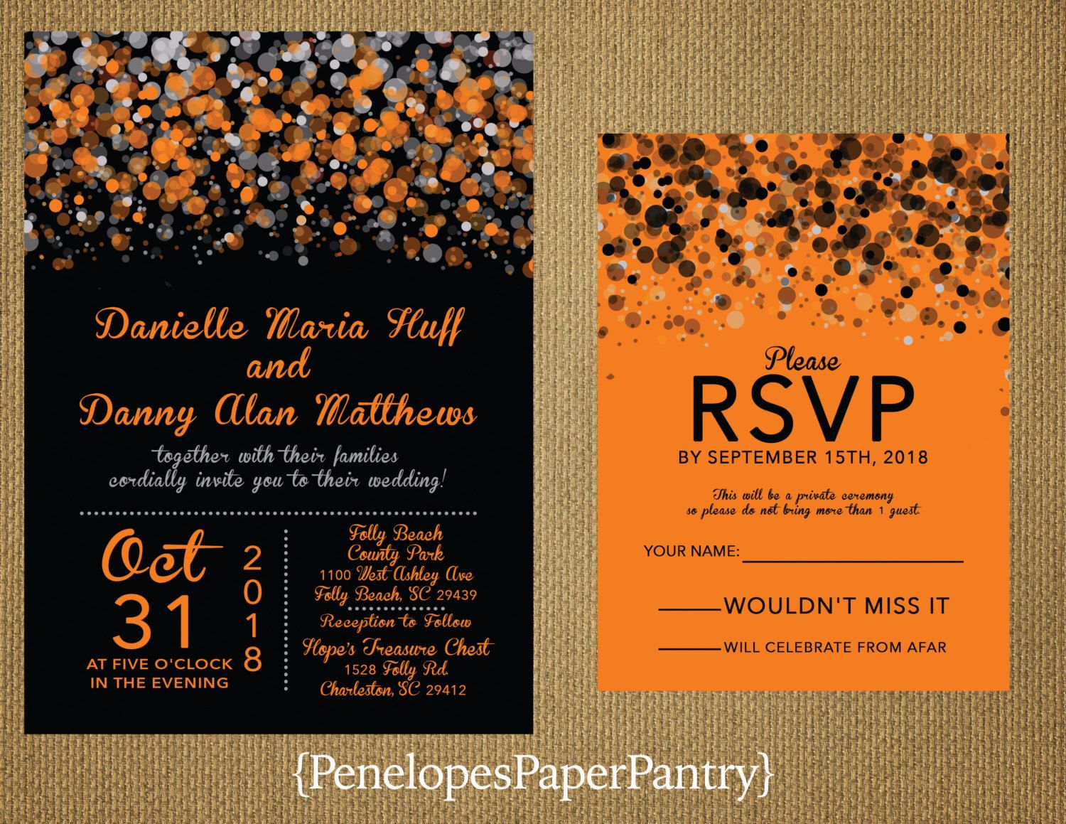 Modern Black And Orange Wedding Invitation Silver Confetti Splatter