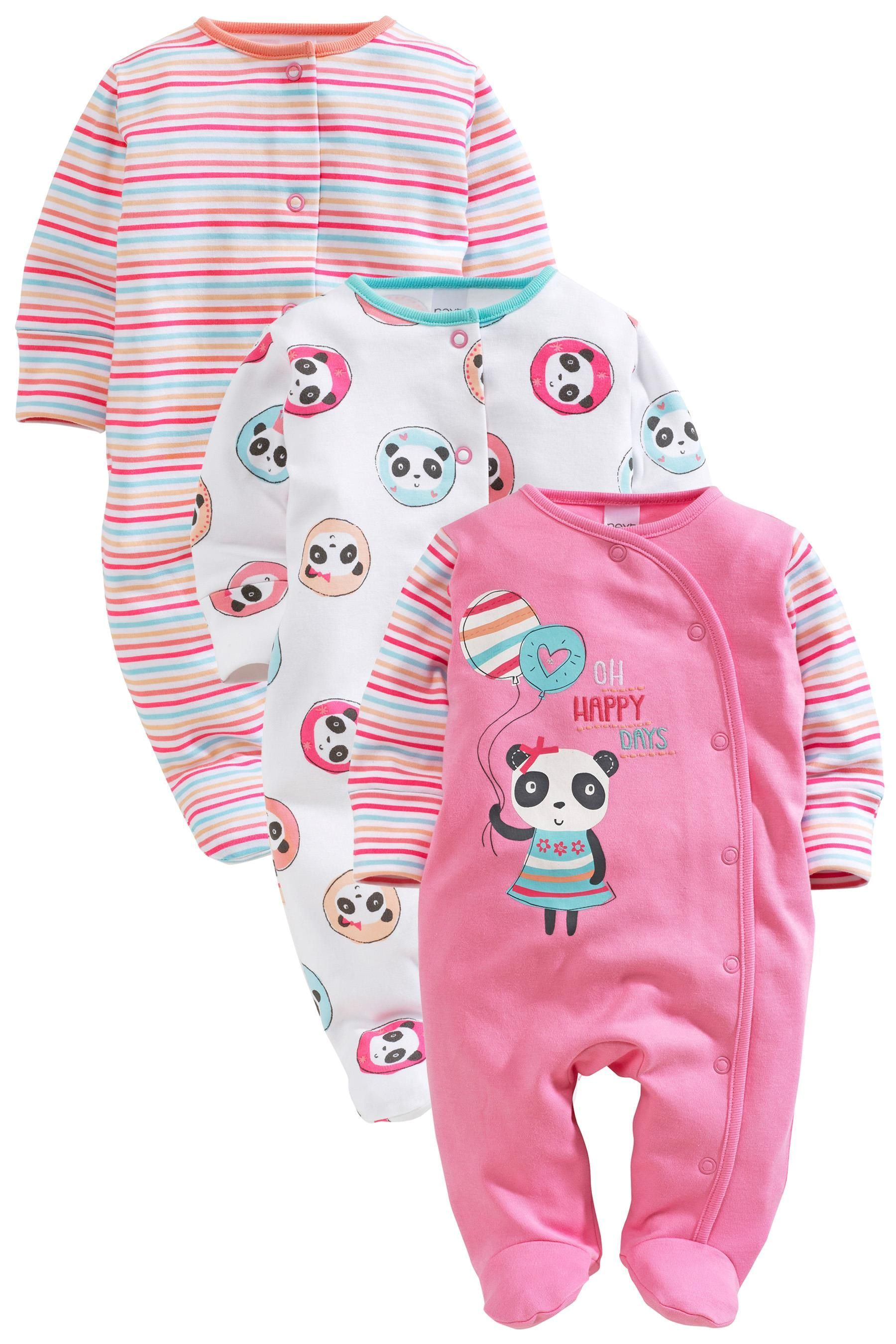 Buy Pink Panda Sleepsuits Three Pack 0mths 2yrs from the Next UK