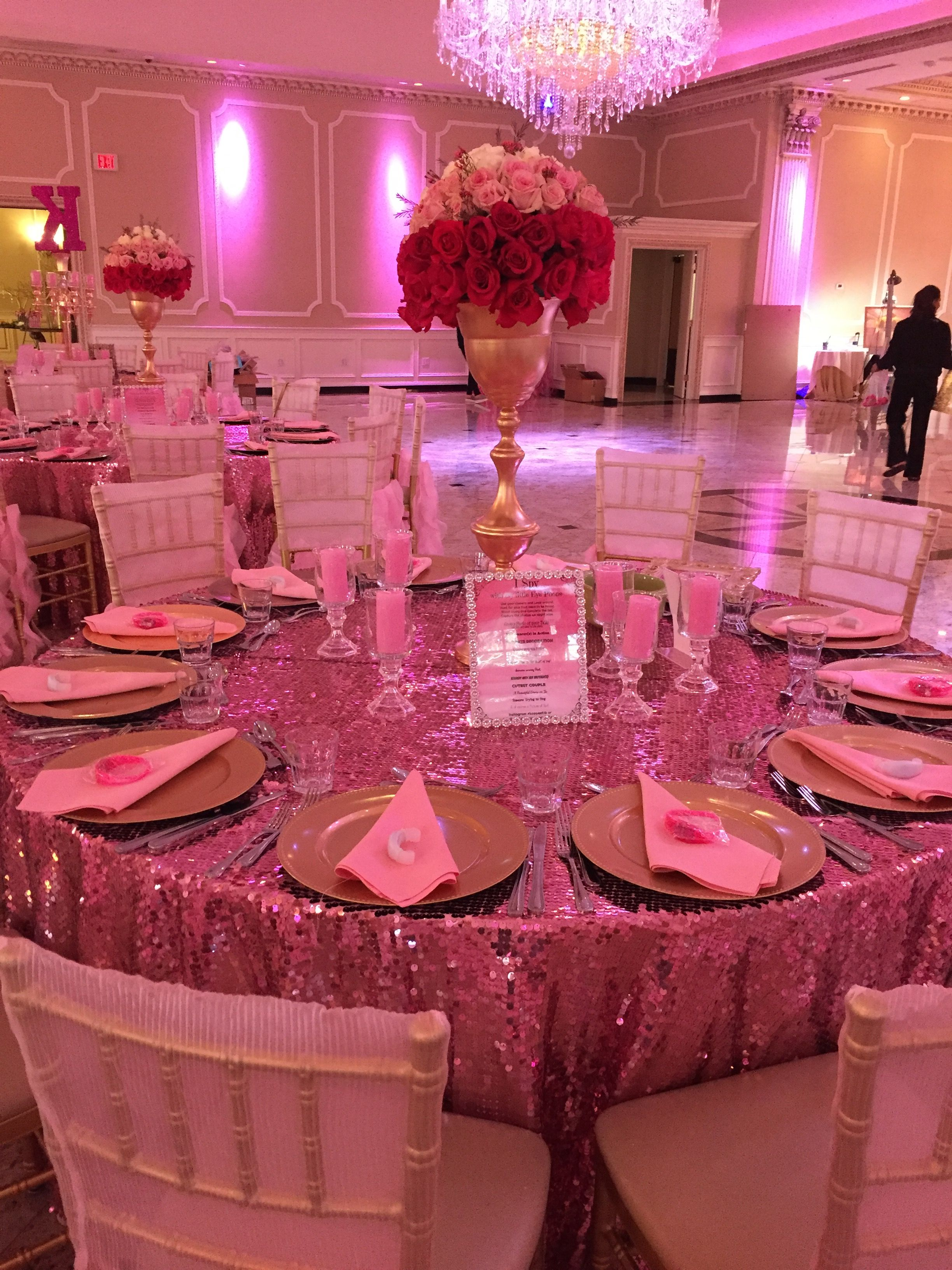 Kennedy super sweet sixteen table settings pink peyote sequin tablecloths pink decor pink ombré & Kennedy super sweet sixteen table settings pink peyote sequin ...