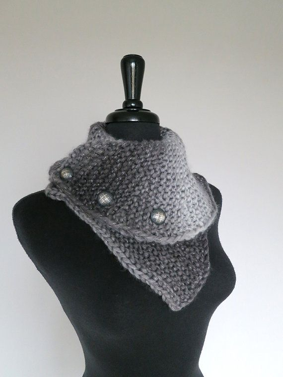 Silver Dark Light Gray Color Stripes Knitted by KnitsomeStudio