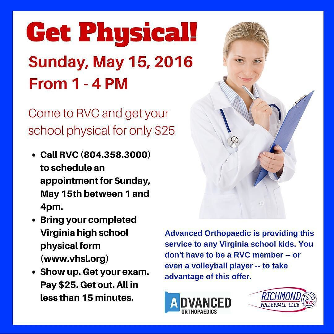 Get Physical Drs From Advanced Orthopaedics Will Perform Va Hs Physicals On 5 15 From 1 4 For 25 Call Rvc Today Make Yo Volleyball Clubs Physics Richmond
