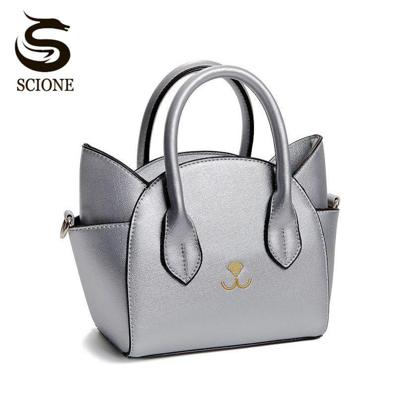 f722adb7549e Women Cute Cat Leather Handbags Trapeze Shaped Crossbody Messenger Bags  Shoulder Bag Korean Casual Totes Bag