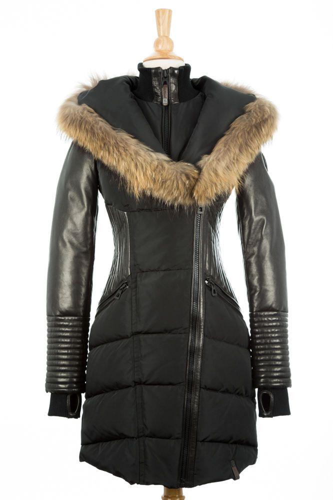 b40b5dd94 100% AUTHENTIC Rudsak Shauna Black Down Fur Leather Coat Women Size ...