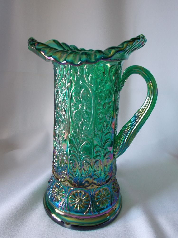 FENTON MILADY TANKARD/PITCHER HUNTER GREEN CARNIVAL Free Shipping!  Signed