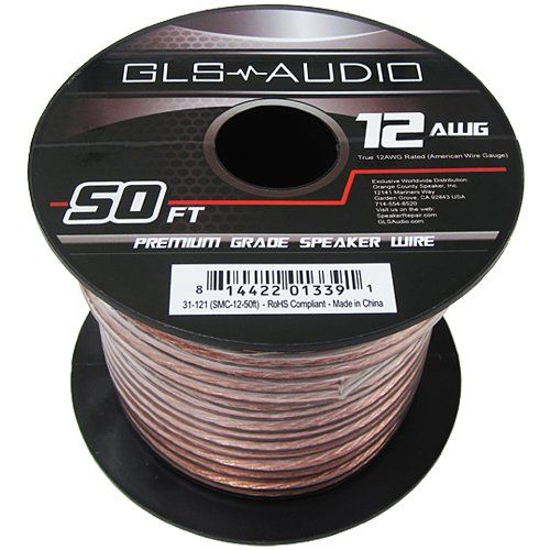 Gls Audio Premium 12 Gauge 50 Feet Speaker Wire True 12awg Speaker Cable 50ft Clear Jacket High Quality 50 Speaker Cable Speaker Wire American Wire Gauge