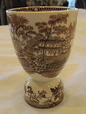 VINTAGE DOUBLE EGG CUP BROWN TRANSFER WARE MADE IN ENGLAND