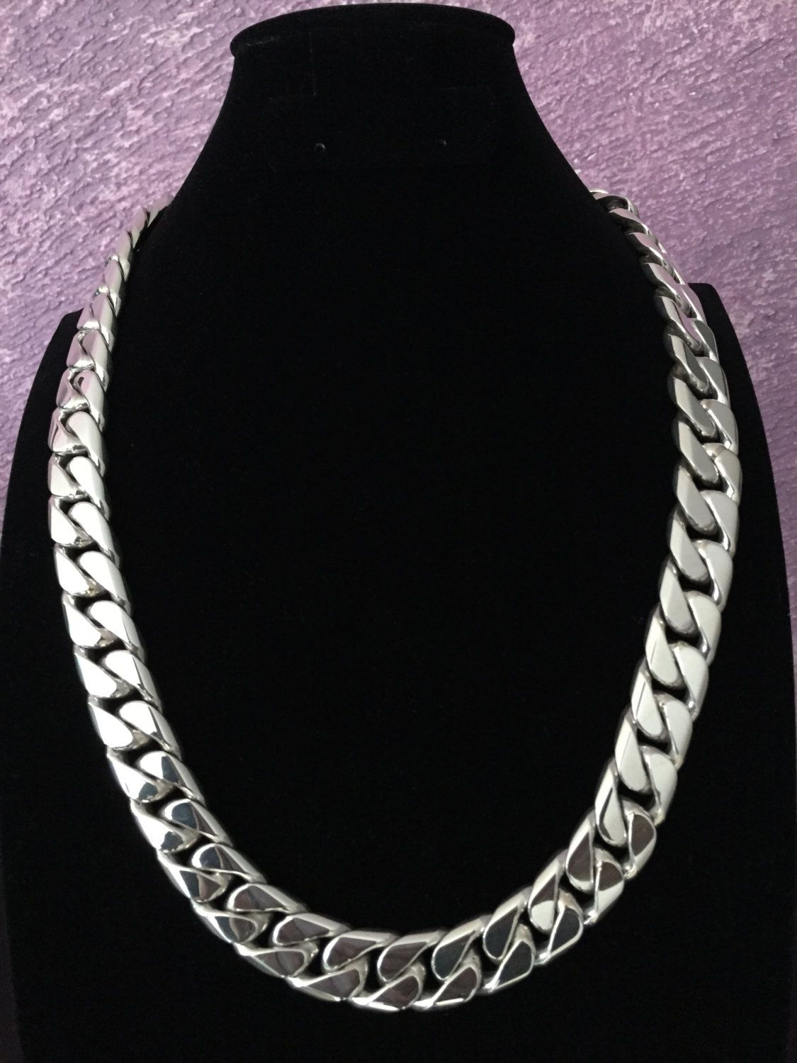 277b36df45356 Mens .925 Sterling Silver Thick and heavy Weight Barbado chain link ...