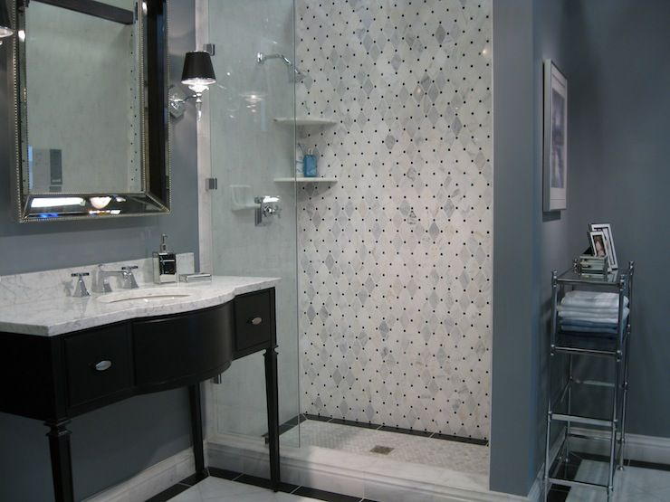 ... countertop, blue gray walls paint color and marble basketweave tiles