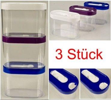Schüttdosen Vorratsdosen Streudose 3 Stück Set 0,5 Liter