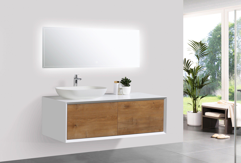 Badmobel Fiona 1200 Weiss Matt Front In Eiche Optik Spiegel Und Aufsatzwaschbecken Optional Aufsatzwaschbecken Badezimmer Gunstig Badmobel Set Weiss