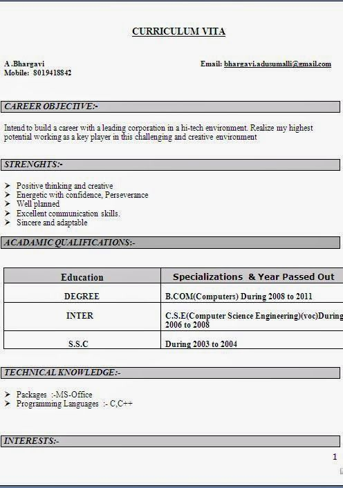 Bcom Resume Format. Best 25+ Sample Resume Format Ideas On