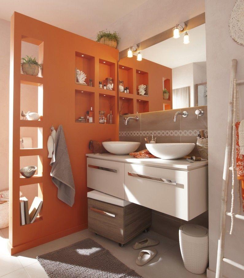 salle de bains orange et taupe contemporaine - Idee De Separation Salle De Bain
