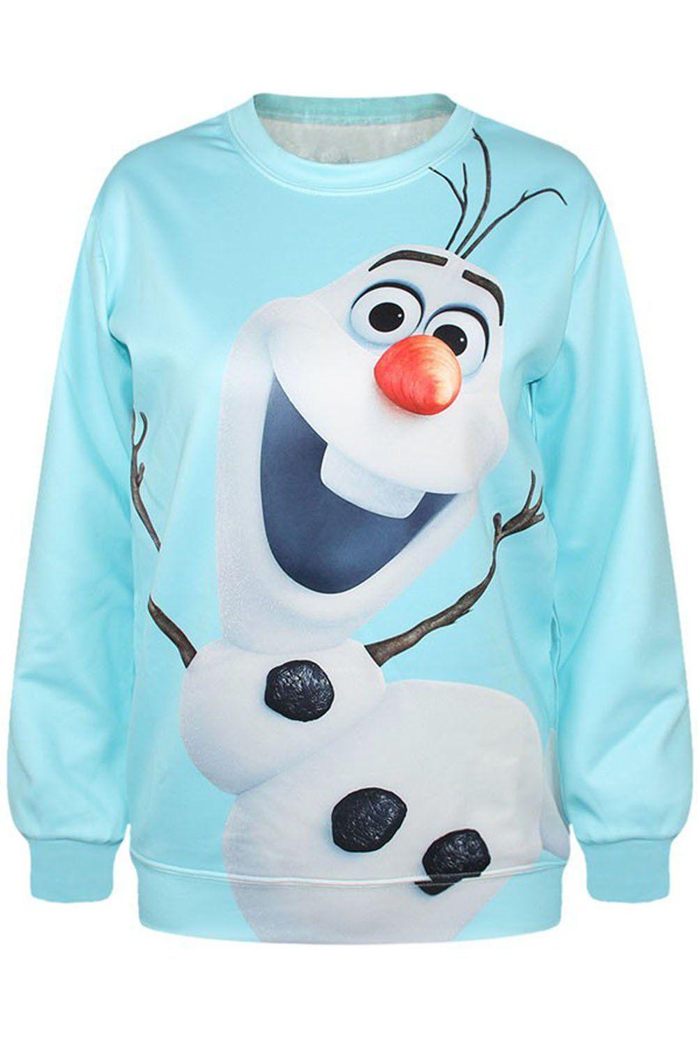 Maykool Women S Light Blue Frozen Snowman Print Sweatshirt Size One Size Printed Sweatshirts Sweatshirts Long Sleeve Sweatshirts [ 1502 x 1001 Pixel ]