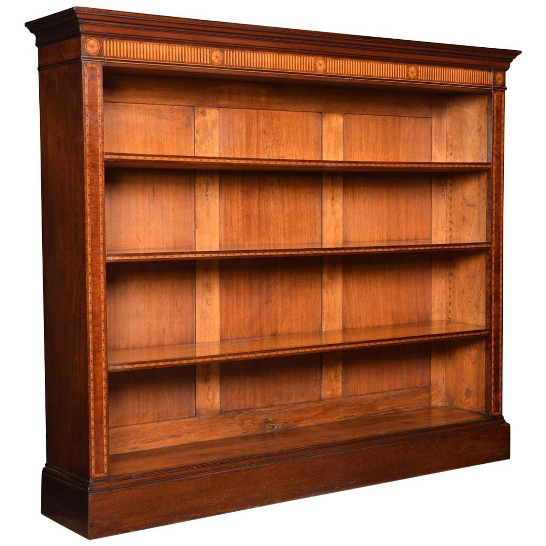 Sheraton Revival Mahogany Inlaid Open Bookcase Vintage Bookcase Open Bookcase Bookcase