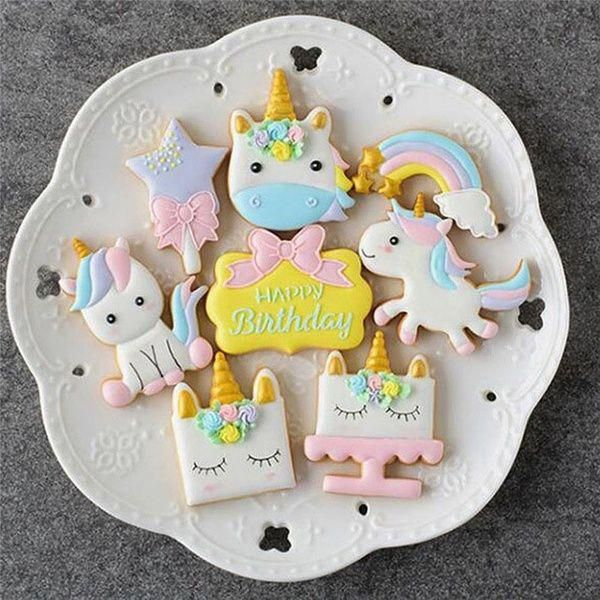 Set Creative Unicorn Cookie Cutter DIY Fondant Chocolate Cake Embossing Stencil Mold Biscuit Mold Baking Tool - Unicorn cookies, Unicorn cookie cutter, Cookie decorating, Diy cookie cutter, Cookie cutter set, Cookie cutters - set Unicorn Cake Mold,As you choose