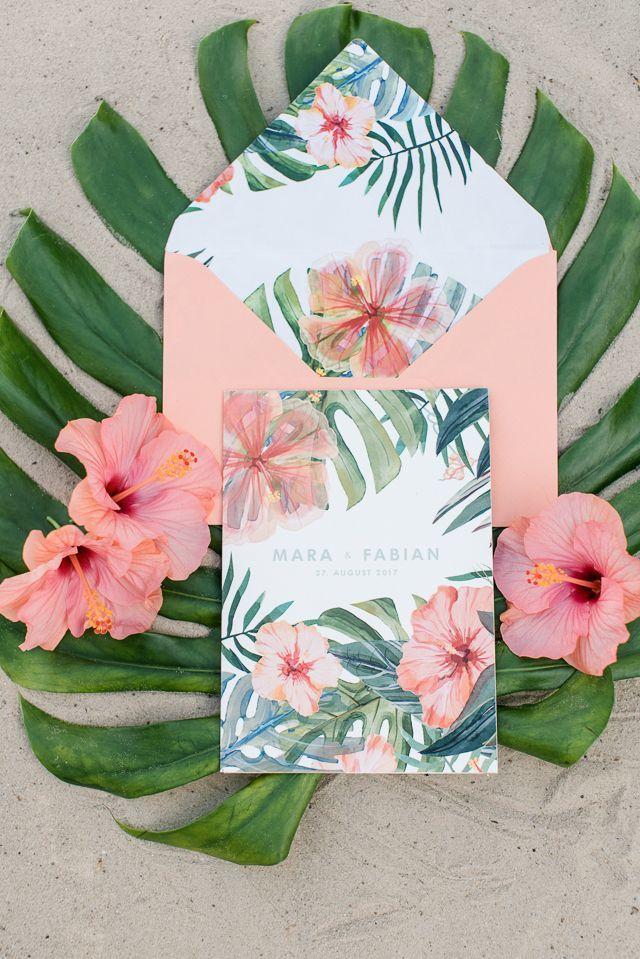 hawaii-inspired beach wedding | hibiscus, weddings and wedding, Wedding invitations